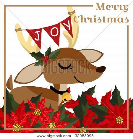 Christmas Holiday Season Background With Cute Reindeer With Holly Berries Branch, Christmas Flower A