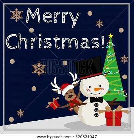 Christmas Cartoon Of Snowman, Reindeer, Gift Box And Christmas Tree With Merry Christmas Text. Cute