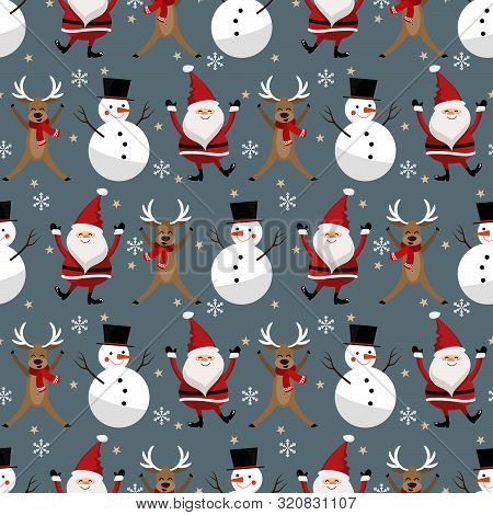 Santa Claus With Snowflakes, Snowman And Reindeer Seamless Pattern. Cute Christmas Holidays Cartoon