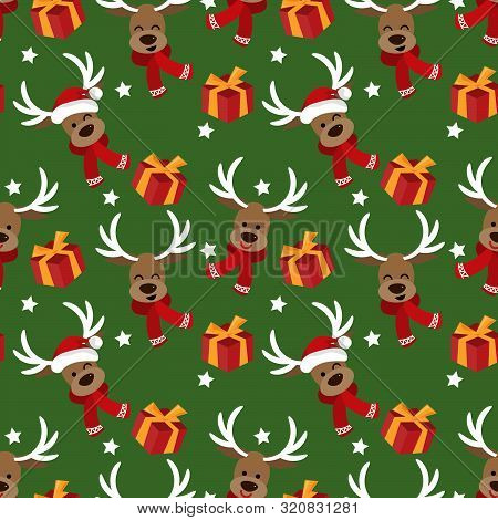 Cute Reindeer In Red Scarf, Star And Gift Box Seamless Pattern. Cute Christmas Holidays Cartoon Char