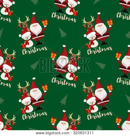 Santa Claus, Snowman, Christmas Tree And Reindeer With Gift Box And Merry Christmas Text Seamless Pa