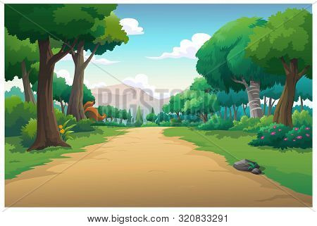 Illustration Of An Outdoor In The Jungle And Natural In The Morning.