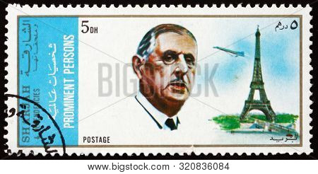 Sharjah - Circa 1971: A Stamp Printed In Sharjah Uae Shows Charles De Gaulle (1890-1970), French Gen