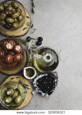 Italian Food Background, With Bell Peppers And Green Olives, Stuffed With Cheese, Black Olives, Oliv