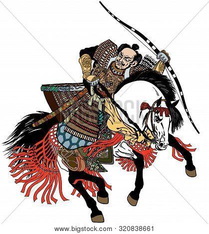 Asian Warrior Archer. Japanese Samurai Horseman Sitting On Horseback, Wearing Medieval Leather Armor