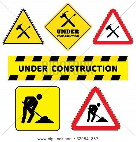 Under Construction Sign Collection.six Construction Sign Drawing By Illustration.under Construction