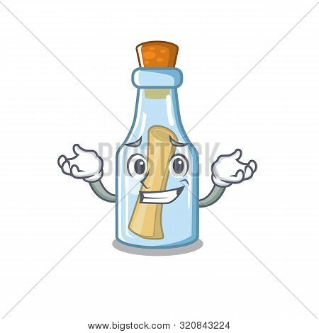Grinning Message In Bottle On The Cartoon