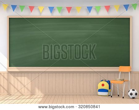 Back To School Concept With Empty Blackboard 3d Render,the Classroom Have White Walls And Wooden Flo