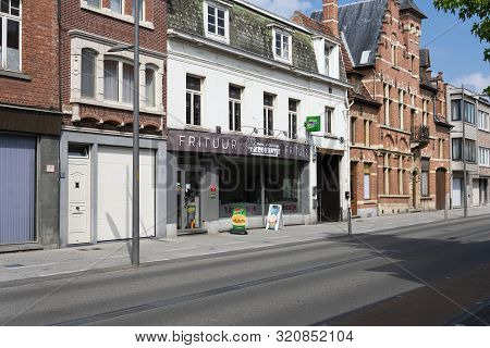 Sint Gillis Waas, Belgium, 30 June 2019. Typical French Fries Or Belgian Chip Shop In A Village Wher