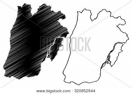 Lisbon District (portuguese Republic, Portugal) Map Vector Illustration, Scribble Sketch Lisbon Map