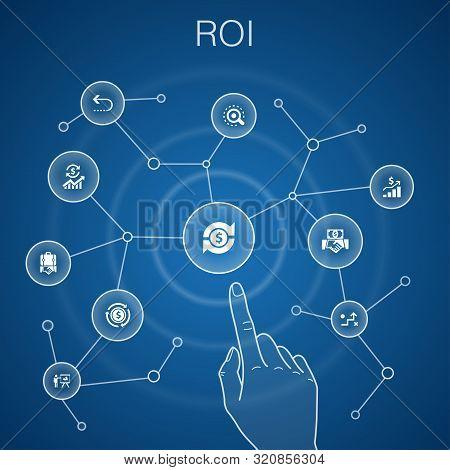Roi Concept, Blue Background.investment, Return, Marketing, Analysis Icons