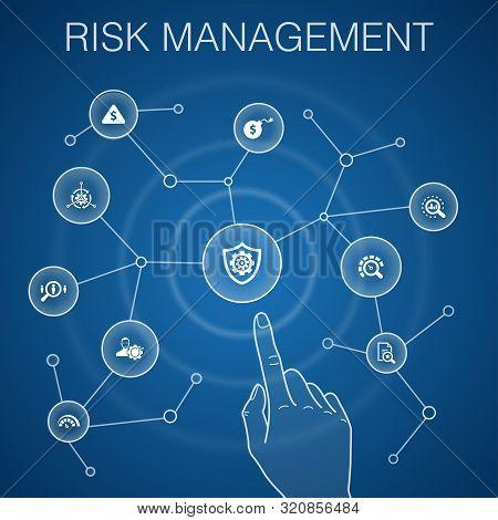 Risk Management Concept, Blue Background.control, Identify, Level Of Risk, Analyze