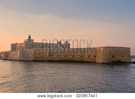 Sunset on the Fortress Maniace in Syracuse Sicily poster
