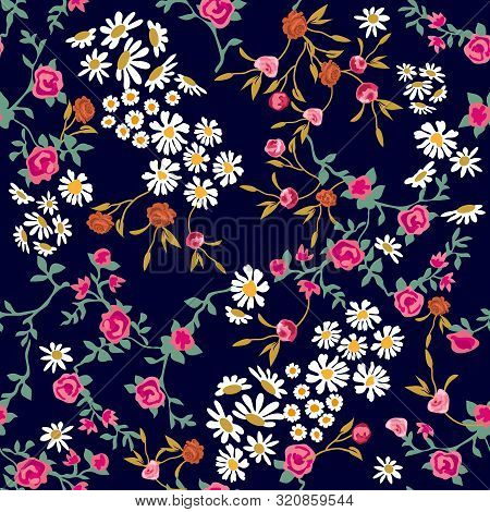 Trendy Fabric Pattern With Miniature Flowers. Botanical Seamless Print With Different Floral Element