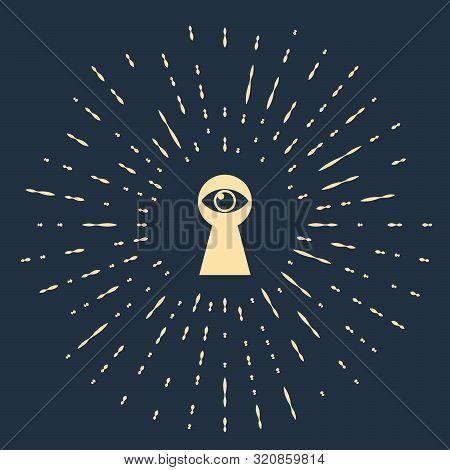 Beige Keyhole With Eye Icon Isolated On Dark Blue Background. The Eye Looks Into The Keyhole. Keyhol