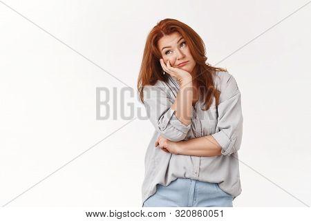 Bored Redhead Middle-aged Housewife Smirking Regret Boredom Lean Palm Unamused Moody Look Away Smirk
