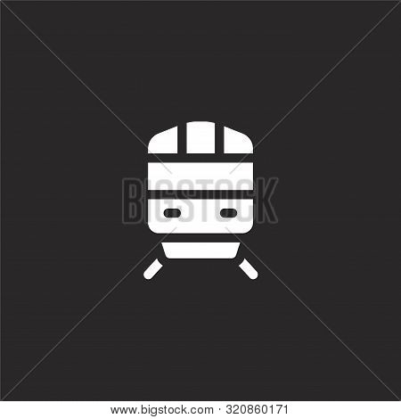 Metro Icon. Metro Icon Vector Flat Illustration For Graphic And Web Design Isolated On Black Backgro