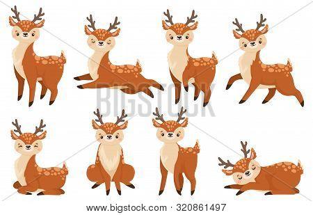 Cute Cartoon Deer. Running Reindeer, Wildlife Fawn And Deers Child. Xmas Reindeer Character Or Wildl