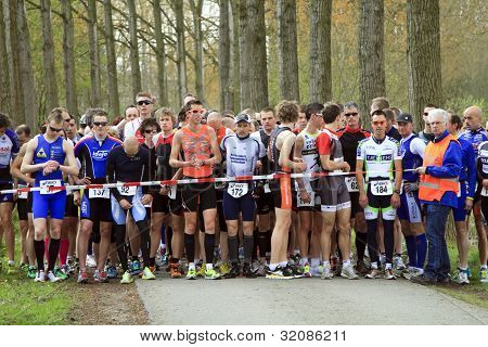 Competitors Lining Up At The Start Of The Race