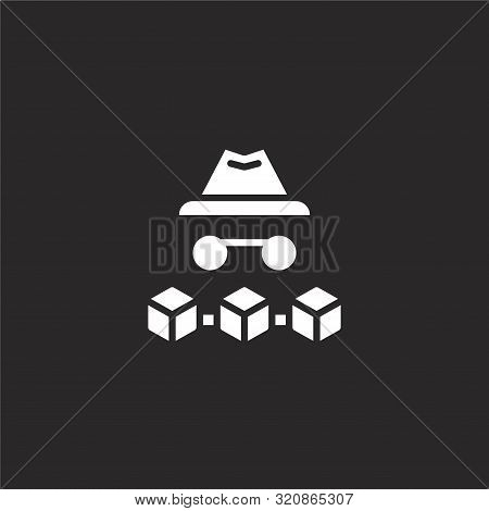 Anonymous Icon. Anonymous Icon Vector Flat Illustration For Graphic And Web Design Isolated On Black