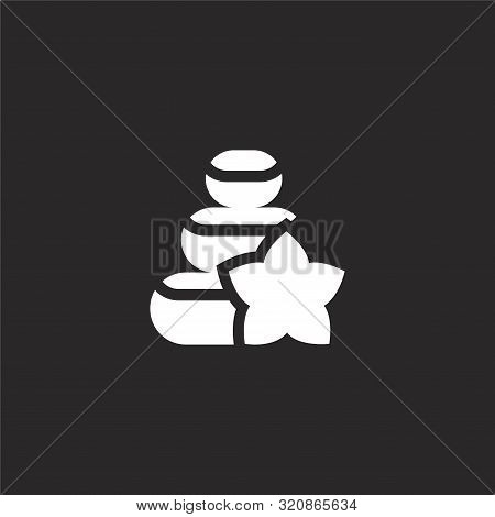 Stones Icon. Stones Icon Vector Flat Illustration For Graphic And Web Design Isolated On Black Backg