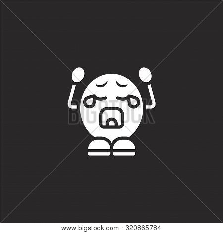 Crying Icon. Crying Icon Vector Flat Illustration For Graphic And Web Design Isolated On Black Backg