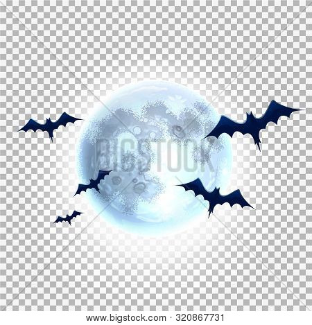 Vector Bat Silhouette On Moon For Halloween Party