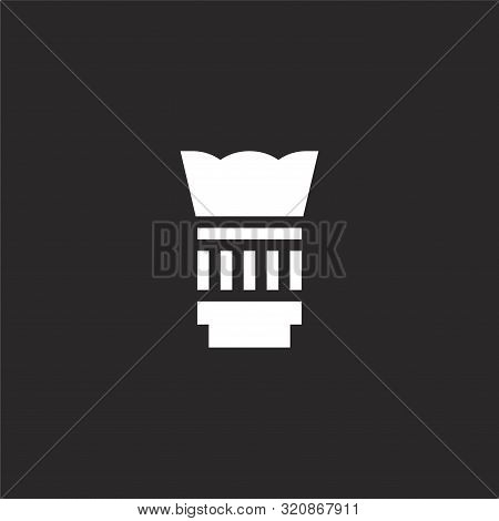 Lens Icon. Lens Icon Vector Flat Illustration For Graphic And Web Design Isolated On Black Backgroun