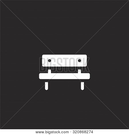 Bench Icon. Bench Icon Vector Flat Illustration For Graphic And Web Design Isolated On Black Backgro