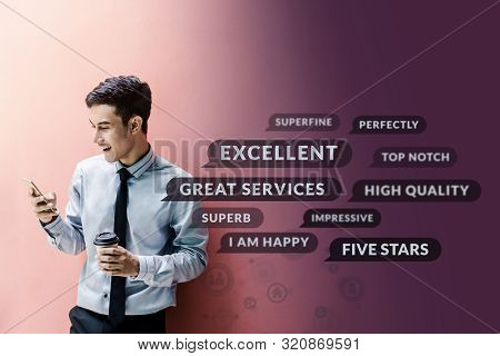 Customer Experience Concept. Happy Businessman Using Smart Phone To Reading Positive Review Or Feedb