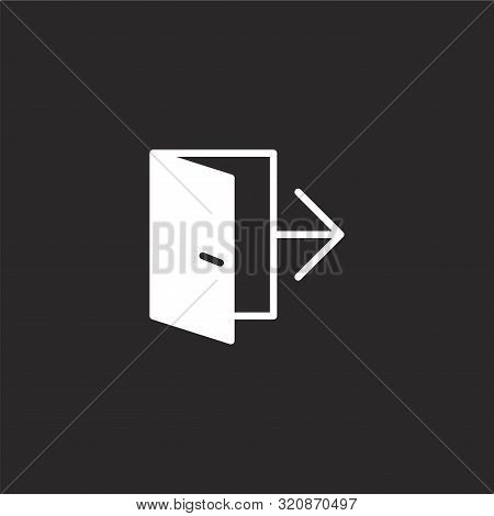 Exit Icon. Exit Icon Vector Flat Illustration For Graphic And Web Design Isolated On Black Backgroun