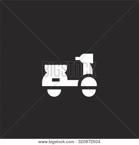 Vespa Icon. Vespa Icon Vector Flat Illustration For Graphic And Web Design Isolated On Black Backgro