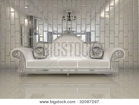 Modern White Sofa In Royal Interior Apartment Space