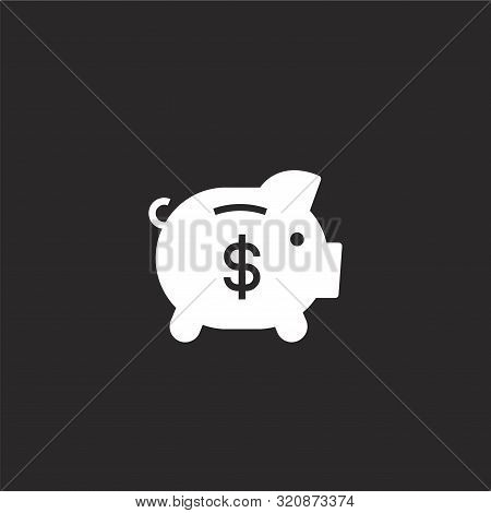 Piggy Bank Icon. Piggy Bank Icon Vector Flat Illustration For Graphic And Web Design Isolated On Bla