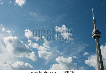Cn Tower Across A Blue Sky