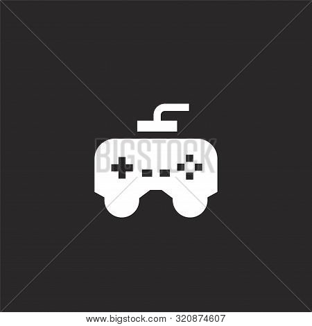 Console Icon. Console Icon Vector Flat Illustration For Graphic And Web Design Isolated On Black Bac