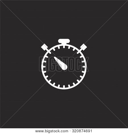 Stopwatch Icon. Stopwatch Icon Vector Flat Illustration For Graphic And Web Design Isolated On Black