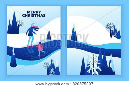 Ice Skating Greeting Card, Isometric People, 3d Vector Winter Sport Family, Christmas Tree Decorated