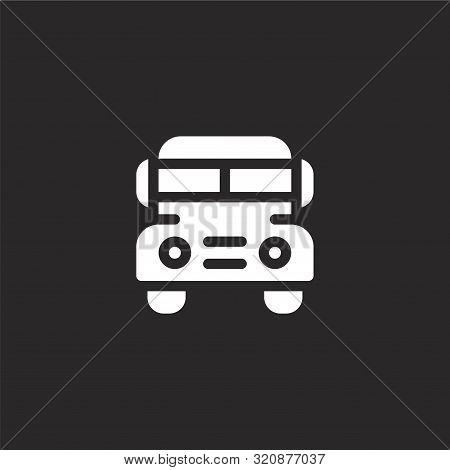 School Bus Icon. School Bus Icon Vector Flat Illustration For Graphic And Web Design Isolated On Bla