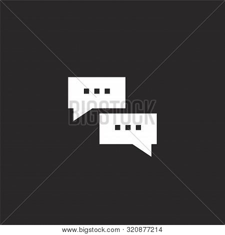Talk Icon. Talk Icon Vector Flat Illustration For Graphic And Web Design Isolated On Black Backgroun
