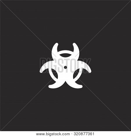 Biohazard Icon. Biohazard Icon Vector Flat Illustration For Graphic And Web Design Isolated On Black