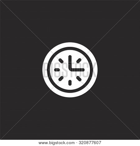 Clock Icon. Clock Icon Vector Flat Illustration For Graphic And Web Design Isolated On Black Backgro