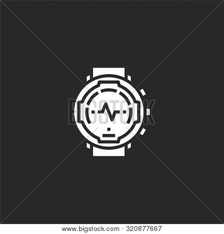 Watch Icon. Watch Icon Vector Flat Illustration For Graphic And Web Design Isolated On Black Backgro