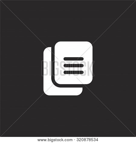 Copy Icon. Copy Icon Vector Flat Illustration For Graphic And Web Design Isolated On Black Backgroun
