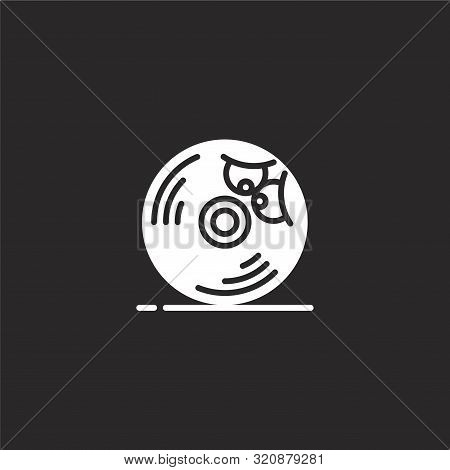 Cd Icon. Cd Icon Vector Flat Illustration For Graphic And Web Design Isolated On Black Background Fr