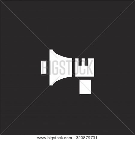 Megaphone Icon. Megaphone Icon Vector Flat Illustration For Graphic And Web Design Isolated On Black