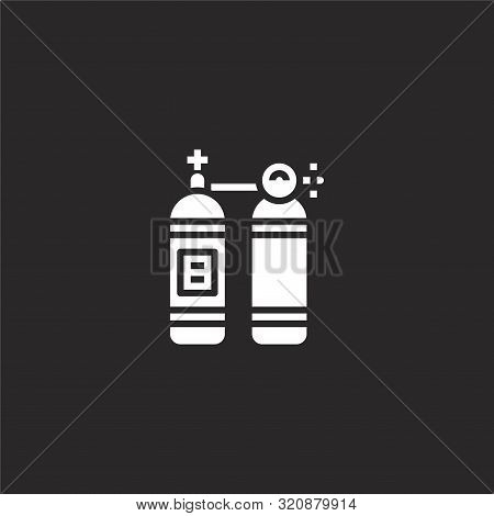 Oxygen Tank Icon. Oxygen Tank Icon Vector Flat Illustration For Graphic And Web Design Isolated On B