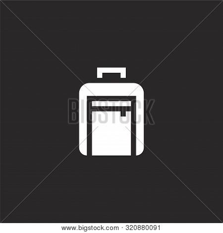 Suitcase Icon. Suitcase Icon Vector Flat Illustration For Graphic And Web Design Isolated On Black B