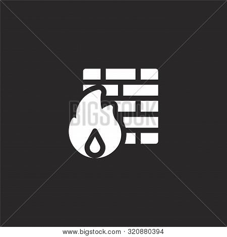 Firewall Icon. Firewall Icon Vector Flat Illustration For Graphic And Web Design Isolated On Black B