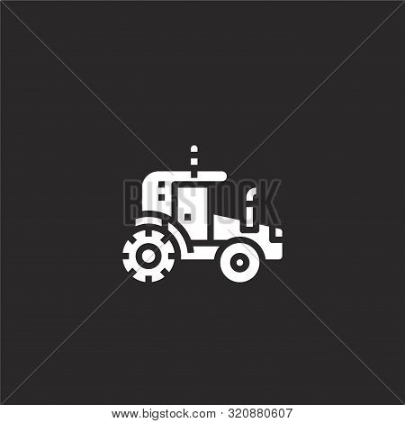 Tractor Icon. Tractor Icon Vector Flat Illustration For Graphic And Web Design Isolated On Black Bac